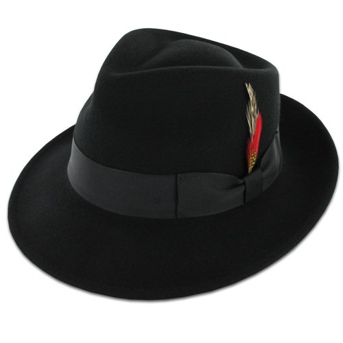 Belfry Gangster 100% Wool Stain-Resistant Crushable Fedora in 5 Sizes and 4 Colors Black Large