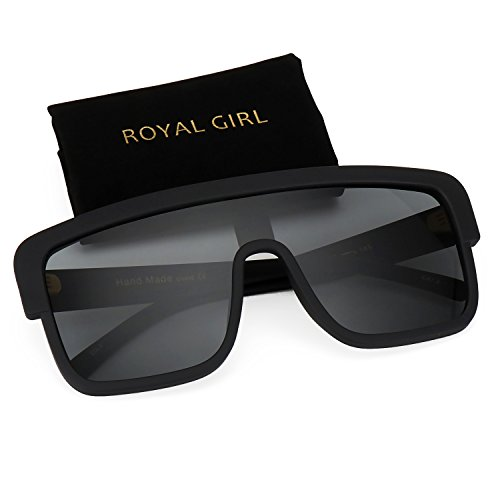 ROYAL GIRL Premium Oversized Sunglasses Women Flat Top Square Frame Shield Fashion Glasses (Matte Black, 77)