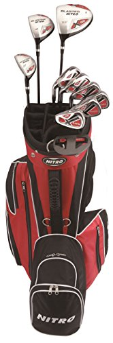 Men's 15 Piece Left-Handed Golf Set - Nitro Men's Blaster Golf Set Steel and Graphite with Bag and Rainhood - 13 years and up