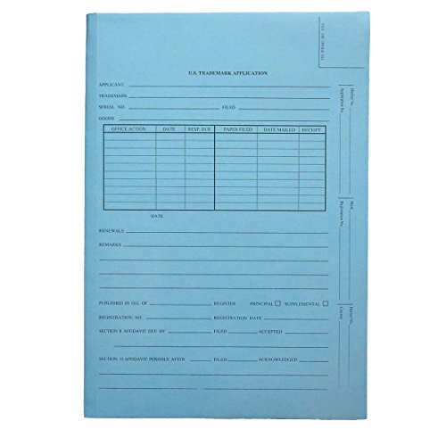 Patent and Trademark Folder, No Tab for Drawer Filing, Blue -