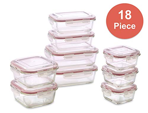 Vibz Glass Food Storage Containers - 18 Piece - Prep, Freeze, Reheat, Bake, Oven Safe Containers for Home and Work - Lunch Containers Portion Control Containers - We Make Mommies ()