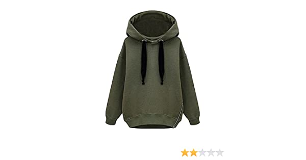 Abetteric Womens Pullover Drawstring Palazzo Side Slit Hooded Hoodies