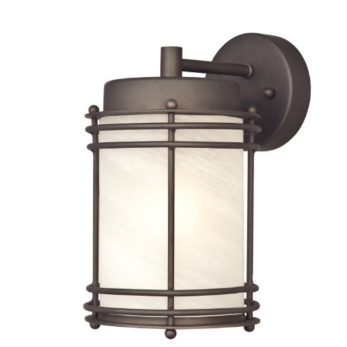 6230700 Parksville One-Light Outdoor Wall Lantern, Oil Rubbed Bronze Finish with White Alabaster Glass