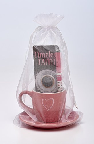 Timeless Faith Lam 3:22 Scripture Pink 8 Oz Ceramic Cup and Saucer, Jumbo Pen Bookmark Gift Set by Christian Tools Affirmation