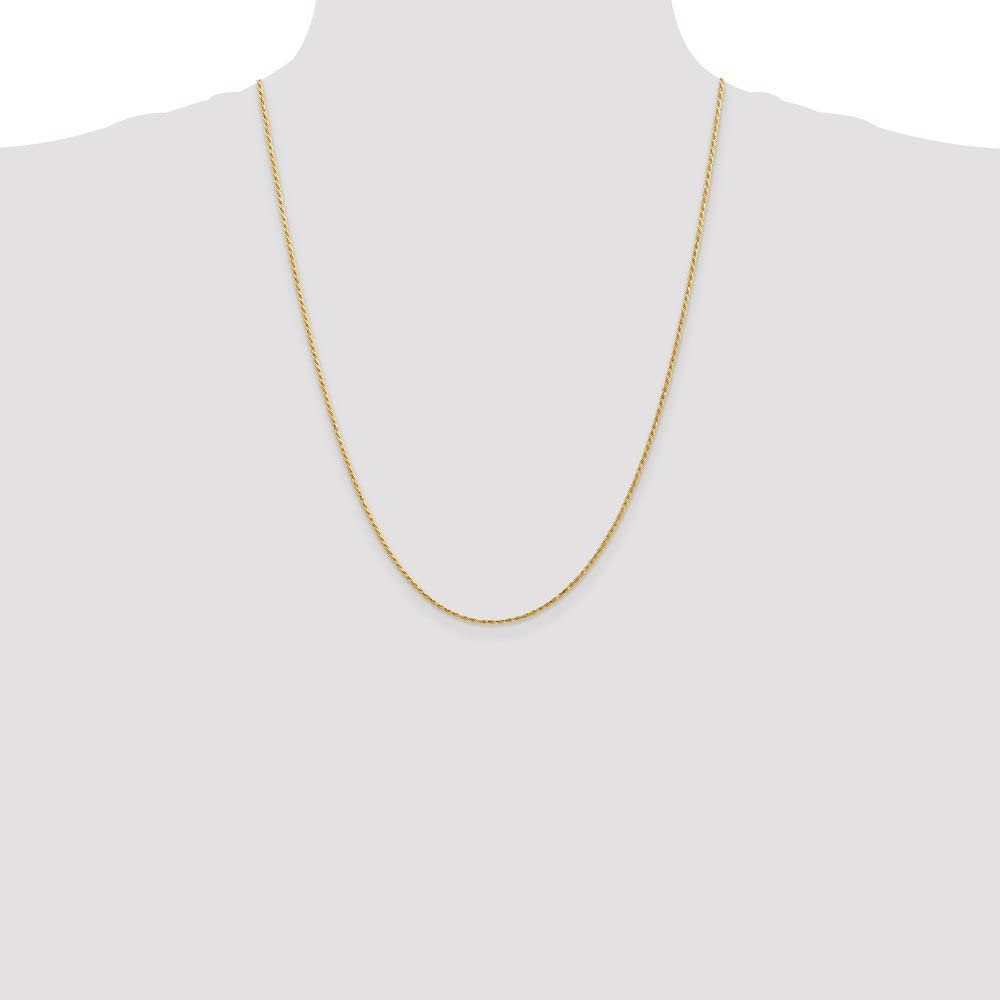 Jewel Tie 14k Yellow Gold 1.3mm Diamond-Cut Machine-Made with Lobster Rope Chain Necklace with Secure Lobster Lock Clasp