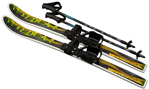 New Wildcat 95cm Jr Waxless Cross Country Backyard Ski Set w Poles Ages 4-8