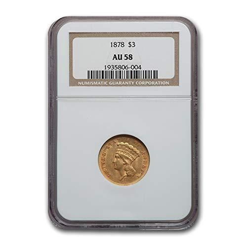 1878 $3 Gold Princess AU-58 NGC Gold AU-58 NGC