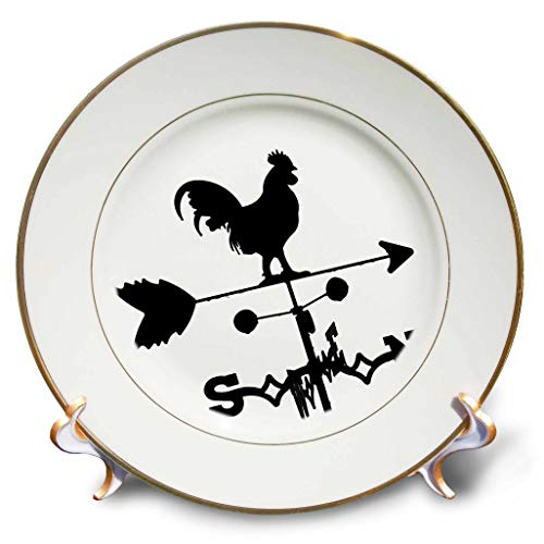 3dRose Stamp City - Miscellaneous - Black and White Photograph of a Wind Vane on top of Our shed. - 8 inch Porcelain Plate (cp_295307_1) (Rooster Accent Plate)