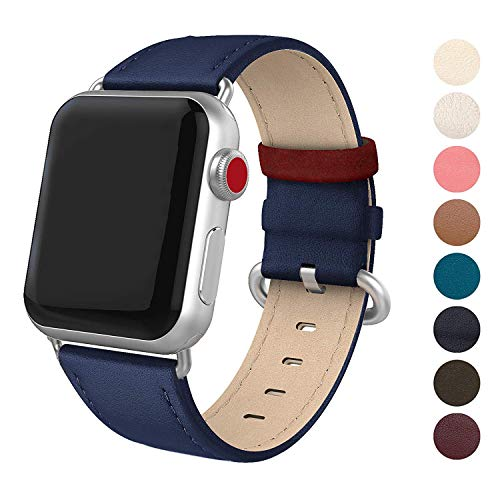 (SWEES Leather Band Compatible iWatch 38mm 40mm, Genuine Leather Elegant Dressy Replacement Strap Compatible iWatch Series 4 Series 3 Series 2 Series 1 Sport Edition Women, Royal Blue)