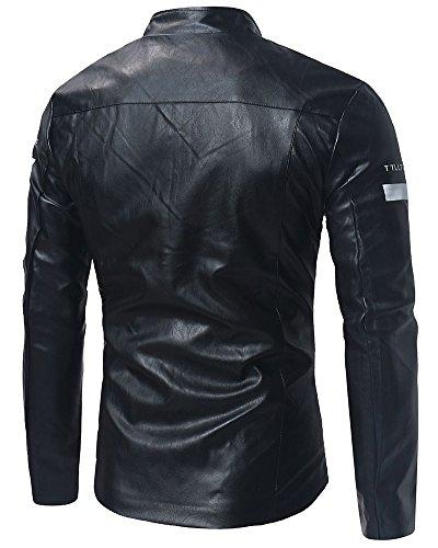 PU Cremallera de Cuero de Chaqueta Cazadoras Motocicleta Para La Hombre Negro 6zP6qnT