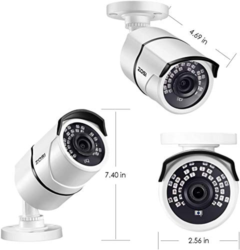 ZOSI 5MP TVI Bullet Security Camera with 100ft Night Vision IP67 Weatherproof for Outdoor Indoor Surveillance CCTV Cameras System (Renewed)