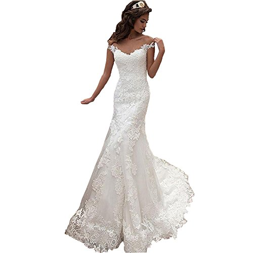 Dexinyuan Women's Lace Mermaid Wedding Dress 2019 V Neck Sweep Train Long Bridal Gowns -