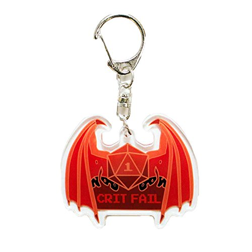 """Crit Fail [Critical Fail] Gaming Dice Roll With Devil Wings 2"""" Acrylic Keychain"""