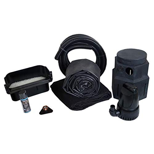 HALF OFF PONDS Complete 3000 Pond Free Waterfall Kit, with 10 ft by 15 ft EPDM Liner and 3,300 GPH Manta Series Submersible Pump - PSH4
