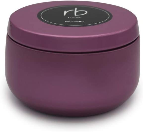 rosbas Napoli Collection, Black Raspberry Vanilla Scented, Natural Soy Wax Candle, Pink Metallic Tin, 6 oz, Essential Oils, Meditation, Relaxing, Non-Toxic, Handmade in USA