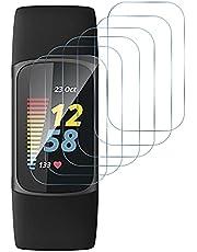 GIOPUEY Folia ochronna na wyświetlacz do Fitbit Charge 5, [6 paków] Elastyczna folia ochronna z TPU, [antypęcherzykowa] [odporna na zużycie] - przezroczysta