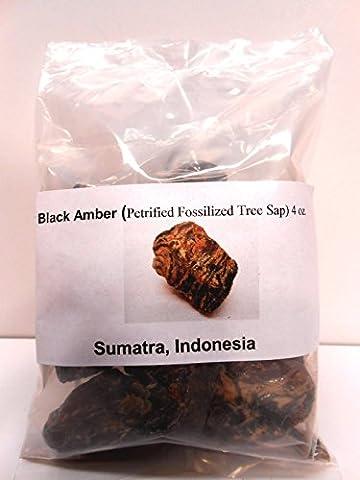Black Amber-Genuine Petrified fossilized tree sap from Sumatra, Indonesia 4 oz - Genuine Rough