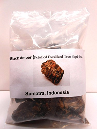 Black Amber-Genuine Petrified fossilized tree sap from Sumatra, Indonesia 4 oz (Tree Amber)