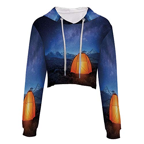 (Hooded Sweatshirt Hip hop Clothing for Women L/XL Blue OrangeCamping Tent Under)
