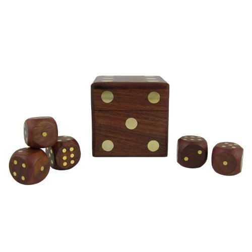 Christmas Thanksgiving Gifts for Kids & Adults Wooden Dice Shape Box Dice Holder and Dice Games of Five Dice, Set of 6 by RoyaltyRoute