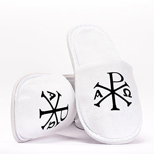 Chi Rho XP Christ Christian Symbol Monogram Pantuflas de Talla Única