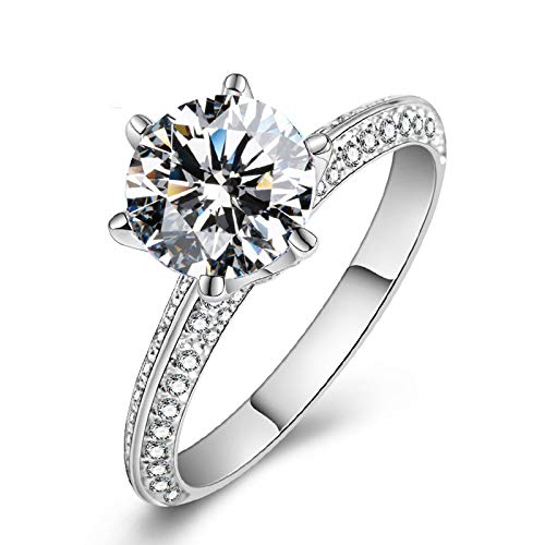 AMDXD Jewelry Wedding Bands in White Gold Six Claw Round Crown Diamond Anniversary Rings Size 5.5