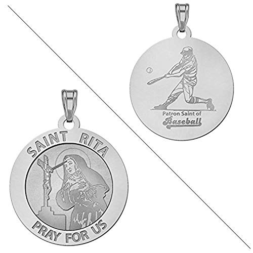 PicturesOnGold.com Saint Rita Religious Medal Baseball Religious Medal - 2/3 Inch Size of Dime, Sterling Silver