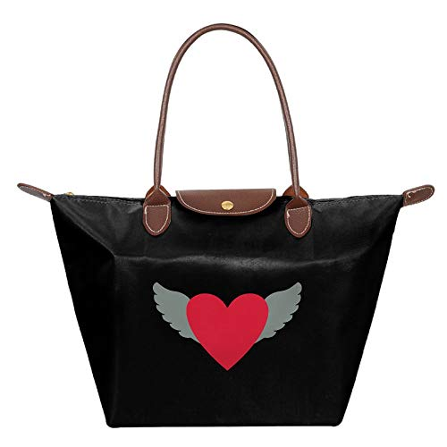 Winged Heart Women Handbags Organizer Casual Printing Waterproof Fold Tote Bag