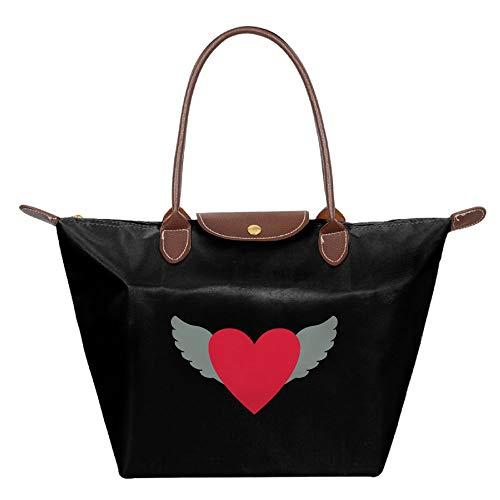 Winged Heart Women Handbags Organizer Casual Printing Waterproof Fold Tote Bag (Handbag Winged Heart)