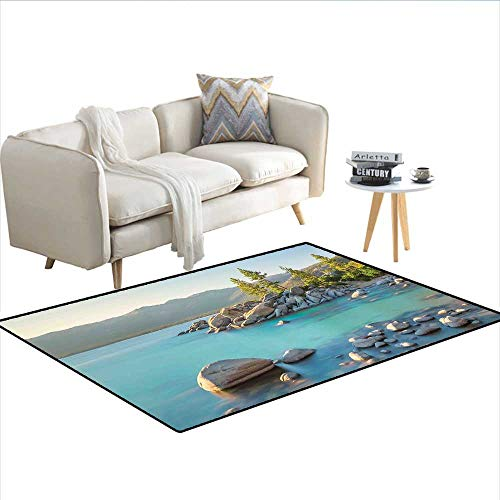 Floor Mat,Pastoral Spring Time Scenery in Provincial Countryside Lake Beach Shallow Water Theme,3D Printing Area Rug,Blue Grey - Provincial Coupe