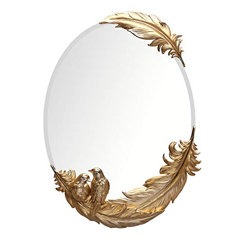 ZZKJBox Oval Bathroom Mirror,Wall Mirror with Magpie and Feather,Art Deco Mirror,Explosion-Proof Anti-Fog -