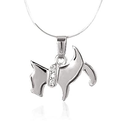 Amazon 925 sterling silver scottish terrier scottie puppy dog 925 sterling silver scottish terrier scottie puppy dog pendant necklace snake chain for women 18 aloadofball Image collections