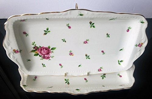 Royal Albert New Country Roses White Large Sandwich Tray Set Of 2 - Rose Sandwich Tray