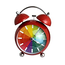 ViewHuge 4.5 Inch Rainbow Pattern Wall Hanging Alarm Clock,Twin Bell Quartz Table Top Travel Clock for Heavy Sleepers Bedrooms,Night Light
