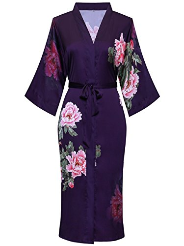 ExpressBuyNow Long Kimono Robes for Women - Watercolor Floral