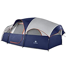 TOMOUNT 8 Person Tent – Professional Waterproof & Windproof Camping Tent, Solid & Portable with Carry Bag, Easy & Quick Setup,Double Layer, 5 Large Mesh for Ventilation