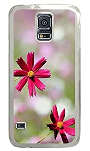 Red Flowers 1 PC Transparent Hard Case Cover Skin For Samsung Galaxy S5 I9600