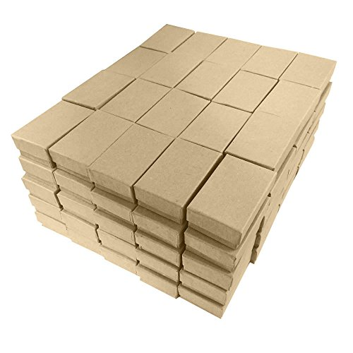 (Kraft Cotton Filled Jewelry Packaging Gift Boxes #21 - Pack of 100)