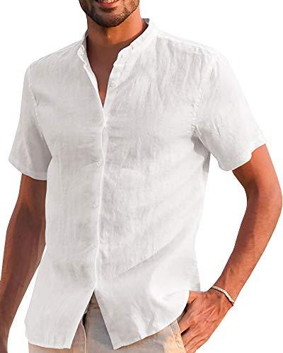 Makkrom Mens Casual Cotton Linen Shirts Button Down Short Sleeve Loose Summer Beach Blouse - Short Shirt Sleeve Work Banded Collar