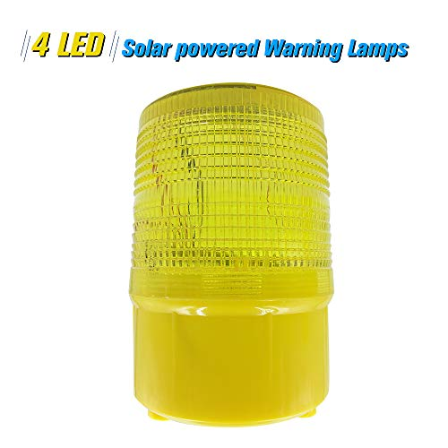 - Cigopx Solar Warning Lights 4pcs LEDs Yellow Light Solar-Powered Warning Lamps Obstruction Lamp/Beacon Light/Traffic Warning Lights/Tower Crane Warning Light//Marine Lamp