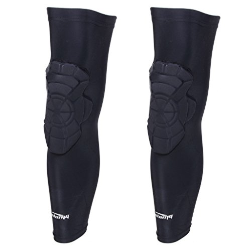 COOLOMG Basketball Leg Knee Long Sleeves EVA Pads Crash Proof Protector Gear (One Pair) Black ()