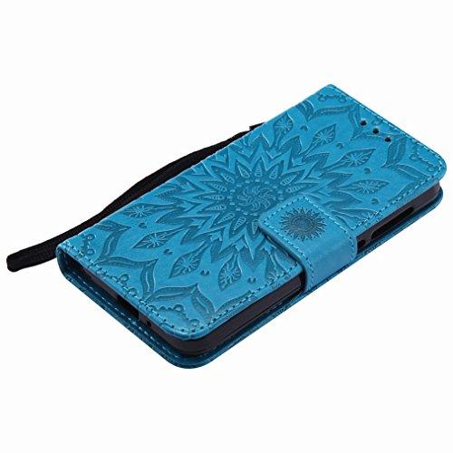 Yiizy Huawei Y3II / Huawei Y3 2 Custodia Cover, Sole Petali Design Sottile Flip Portafoglio PU Pelle Cuoio Copertura Shell Case Slot Schede Cavalletto Stile Libro Bumper Protettivo Borsa (Blu)