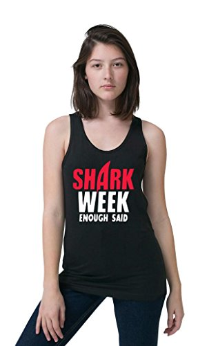 Kim Fit Fab Women's Shark Week Enough Said Tank Top Large Black