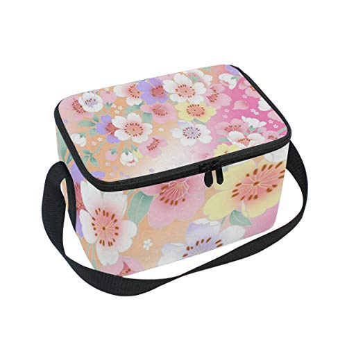 Beauty Cherry Blossoms Insulated Lunch Bag Tote Bag Cooler Lunchbox for Picnic School Women Men