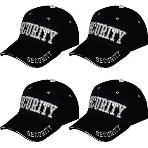 Online Best Service 4 Pack Security Hat Cap Uniform Hats,(One Size) Black