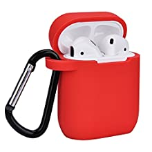 Airpods Case, Coffea AirPods Accessories Shockproof Case Cover Portable & Protective Silicone Skin Cover Case for Apple Airpods Charging Case (Red)