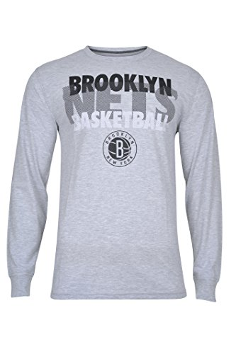 fan products of NBA Men's Brooklyn Nets T-Shirt Supreme Long Sleeve Pullover Tee Shirt, Large, Gray