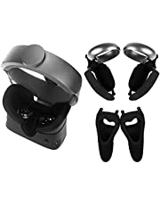 Esimen Touch Controller Grip Cover VR Face Silicone Cover Mask for Oculus Rift S Knuckle Strap Set, Premium Silicone Protective Accessories Anti-Throw Sweatproof Lightproof – 5 Pack (Black)