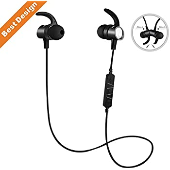 Bluetooth Headphones S13 Noise Canceling Waterproof, Wireless Earbuds Sport, Richer Bass HiFi Stereo Magnetic In-Ear Earphones w/ Mic Bluetooth 4.1 Headsets, Case, 8 Hrs for Running Workout (Black)