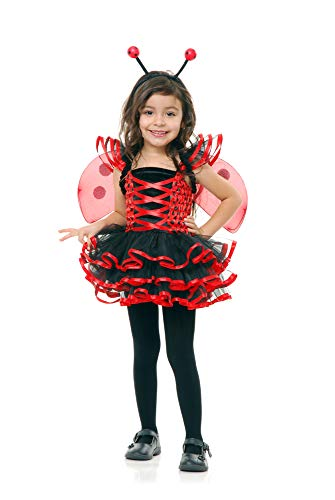 Charades Little Girl's Child's Lady Bug Cutie Costume Childrens Costume, red/Black, X-Small-Small